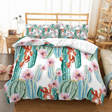 Kids Home Cartoon Bedding Set 3D Printed Tropical Plants Green Cacti Pink Florals White Duvet Cover Set 3 Pieces + 2 Pillow Sham