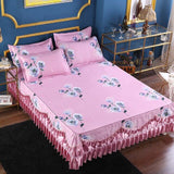 12 Styles Floral Ruffled Bed Skirt Polyester Ultra Soft Bedskirt Floal printed Pastoral Bed set Pillow sham Full Queen King 3Pcs