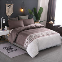 Nordic Style Bed Cloth Solid Floral Bed Linen Set Pillow Sham Duvet Cover Bed Cover Adult's Bedding Set King Queen