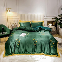 Floral Embroidery Navy Comforter Cover set Queen King size Cotton Fleece Warm Bedding set Bed sheet set with 2 Pillow Shams