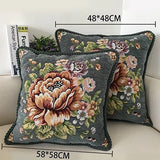 European Palace Peony Floral Jacquard Pillow Case Soft Cushion Cover Brown Ivory Home Decorative Pillow Cover 48x48cm/58x58cm