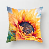 Fuwatacchi Sunflower Painted Printed Cushion Splendid Flower Plant Pillow Cover for Home Chair Pillowcases Sofa Decoration New
