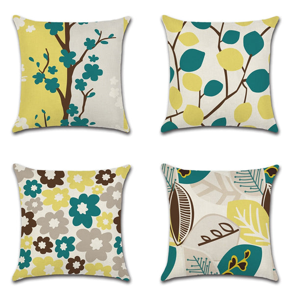1pcs  Hand-painted Tropical Flowers Green Leaves Cushion Cover Throw Pillow Cover Nordic Room Decoration for Home Car Sofa Couch