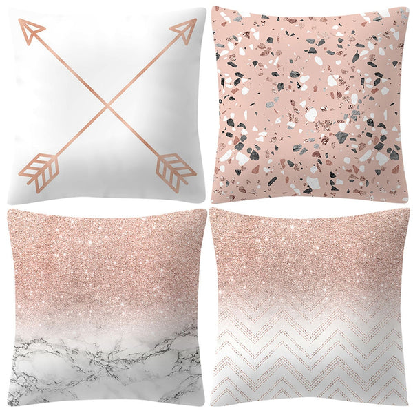 4pcs Fashion Rose Gold Pink Pillowcase Square 45x45cm Cushion Cover for Sofa Bed Car Holiday Party Home Decoration Dropship /d