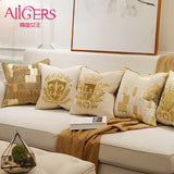 Avigers Luxury Embroidery Cushion Cover Velvet European Pillow Cover Gold PillowCase Geometry Home Decorative Sofa Throw Pillow