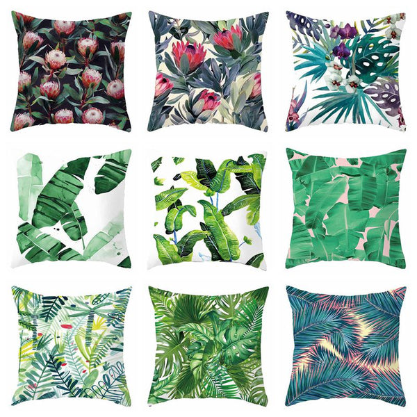 Colorful Floral Plant Cushion Cover Vintage Pillowcase Flower Printed Chair Seat Polyester Cotton Home Decorative Throw Pillow