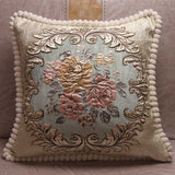 CURCYA Chenille Fabric Jacquard Embroidered Cushion Covers Royal Elegant Classic Floral Home Decorative Luxury Pillow Cover