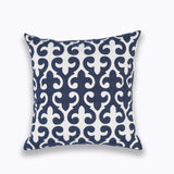 Home Decorative Embroidered Cushion Cover Blue Floral Mandala Leaves Wave Pillow Case Cotton Square Pillow Cover 45x45cm