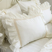 2pcs New Big Embroidery Ruffle Pillow Case Soft Quality Pillow Cover Princess Elegant Pillowcase Bed Textile Pillowcases