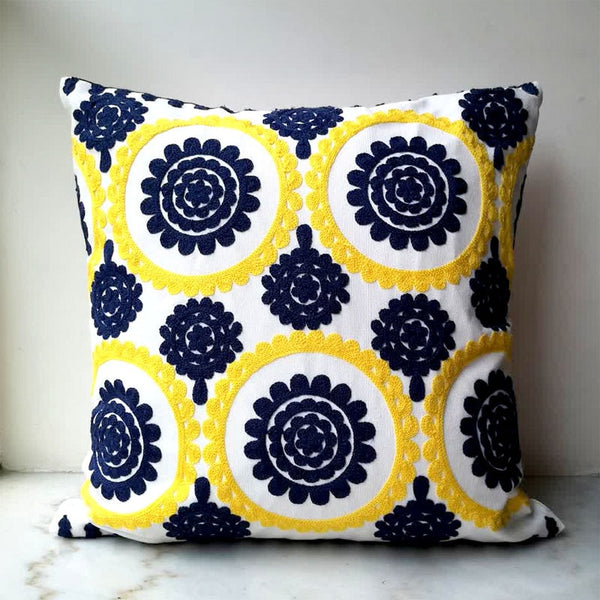 Yellow Blue Cushion Cover Cute Circle floral  Embroidery Pillow Case with For Sofa Bed Simple Home Decorative 45x45cm Sofa Bed
