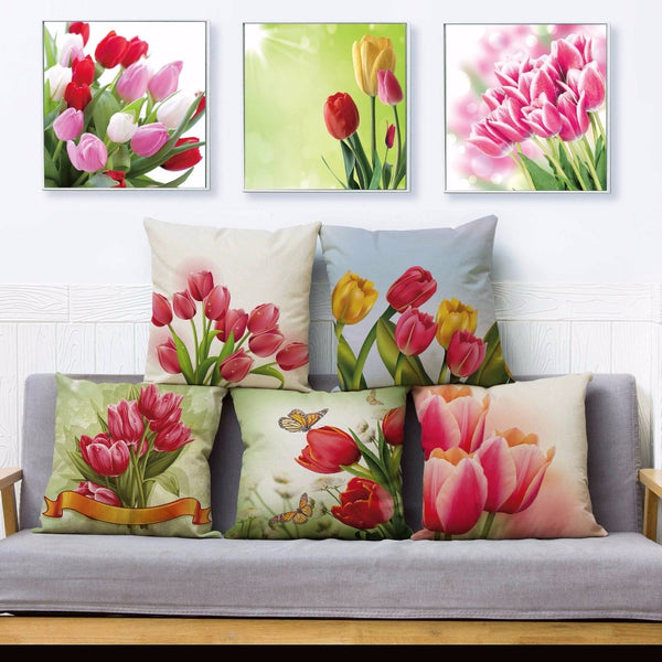 Beautiful Tulip Flower Floral Print Pillow Cover 45*45cm Square Cushion Covers Linen Pillow Case Sofa Home Decor Pillows Cases