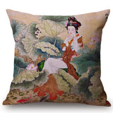 Chinese Retro Painting Style Classical Girl Lotus Cushion Covers Office Car Sofa Chair Home Decoration Cushion Cover Pillow Case