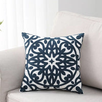 Home Decorative  Embroidered Cushion Cover Navy Blue Gray Black Floral Canvas Cotton Square Embroidery Pillow Cover 45x45cm