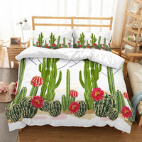 Tropical Plants Green Cactus with Red Florals Cacti 3PCS(1 Duvet Cover 1 Pillow Sham) White Duvet Cover Boys/Girls Bedding Set