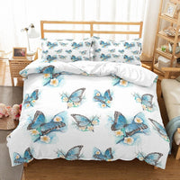 3D Printed Duvet Cover Set Butterfly Florals Pattern Bedding Set 3PCS AU/EU/US Size Family Bed Linen Set Pillow Sham Bedclothes