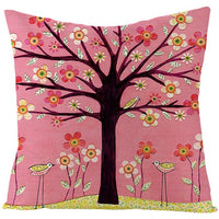 Fuwatacchi Natural Linen Cartoon Plants Cushion Cover Floral Birds Trees Owls Throw Pillow Cover Square 45X45 Pillowcases