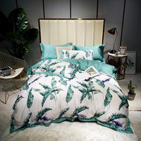 Watercolor Botanical Floral Leaves Duvet Cover Set Sateen Cotton Ultra Soft Bed sheet Queen King size Bedding set Pillow shams