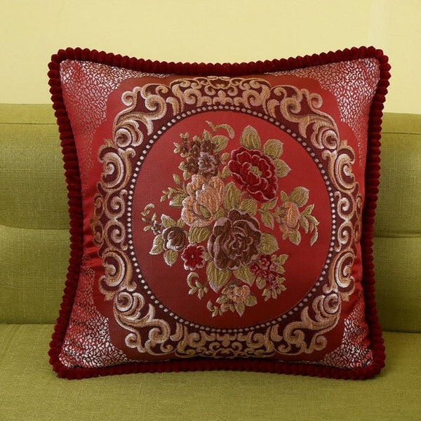 Luxury flowers embroidered throw pillow cover  jacquard sofa cushion cover 48x48/58x58cm European style decorative pillow case