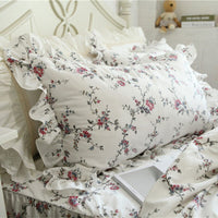 2pcs New Vine flower print pillowcase full cotton pillow sham elegant handmade wrinkle ruffle pillowcases pillow cover towel