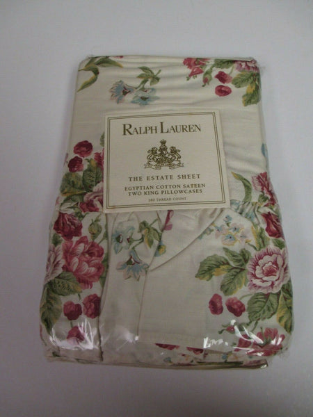 New Ralph Lauren EMILY ANNE Ecru Red Floral Roses Ruffled 2 King Pillowcases