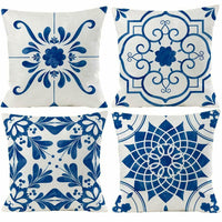 "Pillow Cases Covers Set of 4 18"" x 18"" Floral Mandala Blue Shabby Chic Farmhouse"