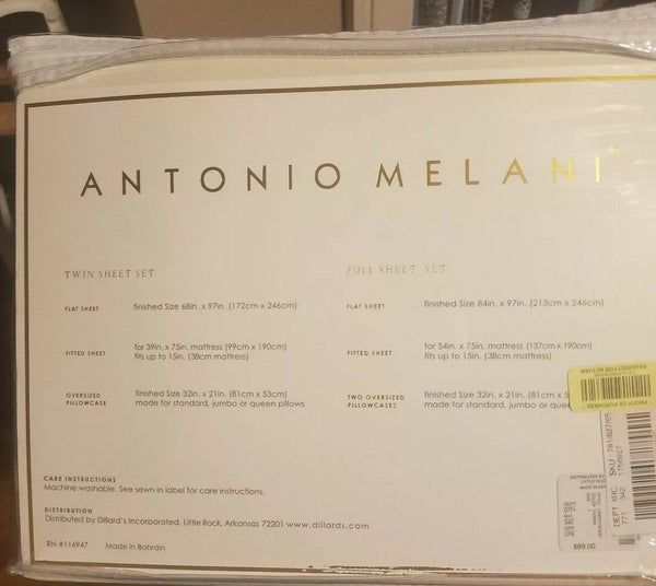 TWIN SHEET SET 100% cotton Antonio Melani Brand New White Floral
