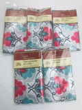 "5 Pillowcases Silky Satin Cases-WHITE Floral-Standard Set-20""x30""-NEW"