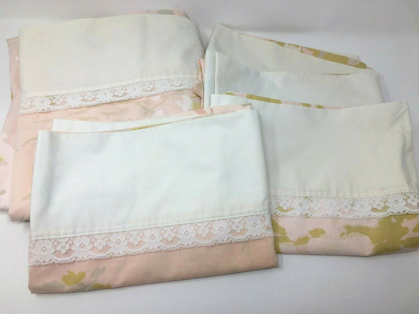 Vintage Springmaid Floral Sheet Pillowcase Set Pink Lace Bedroom Linens