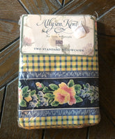 Allyson Kent 2 Standard Pillowcases Cottage Rose Marianne Yellow Blue Multi NIP