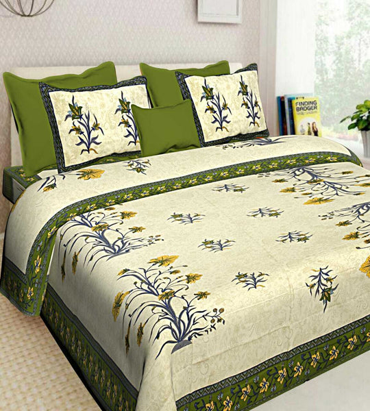 Indian New Multi Floral Print 100% Cotton Bedsheet 2 Pillow Cases Set Bedspread
