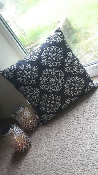 Black and White Vintage Floral Cotton Linen Cushion Cover