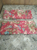 RALPH LAUREN CHAPS SUMMERTON 2 KING SHAMS RED FLORAL BROWN PLAID PILLOW CASES