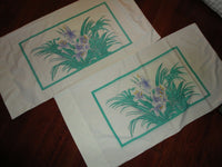 VINTAGE WAMSUTTA BIG FLORAL GREEN LILAC PURPLE FLORAL (2) KING PILLOWCASES 19X38