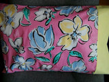 TRAVEL SIZE PILLOWCASE LARGE COLOR FULL FLORAL BUDS /YELLOW CUFF #9941