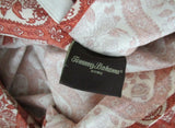 Tommy Bahama Pair Floral Center Diamond Pattern King Pillowcases Cream & Red