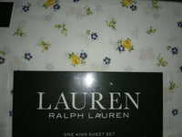 Ralph Lauren 100% Cotton KING Sheet Floral Cottage Yellow Blue Green White NEW