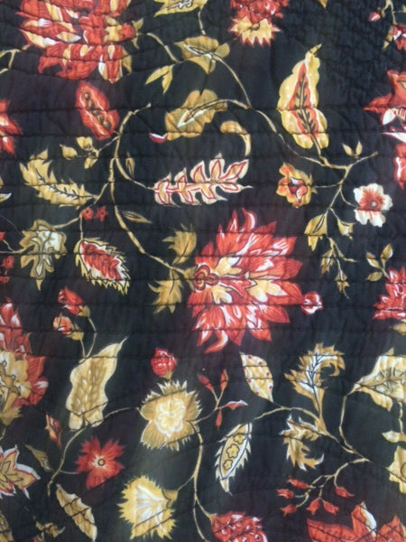 (2) NOBILITY King Shams Pillowcase Quilted Floral Black Orange Country 20x36