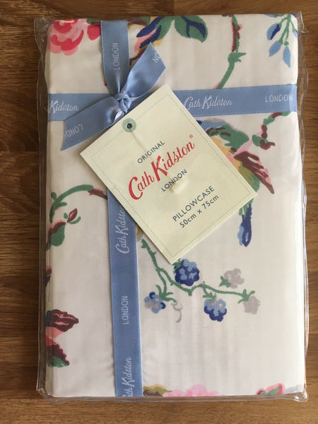 Cath Kidston 1 Standard Housewife Pillowcase Birds & Roses Chalk Percale New A