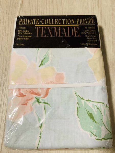 Vintage Texmade Private Privee Pillowcases Floral Pink Green Blue New