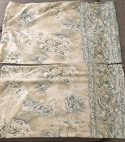 Pair Dan River Pillowcases Standard Tuscan Scroll Floral Green Blue Beige Lovely
