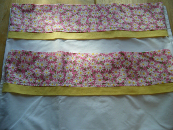 Handmade Pillowcase Pair, Pink with Daisy Print, Decorative Cuff, New, King Size