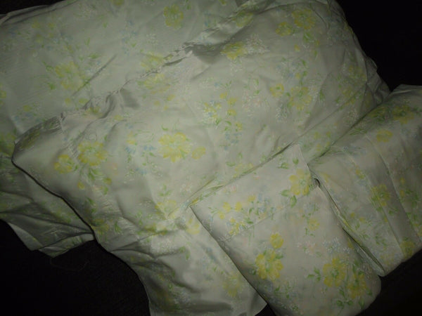 VINTAGE JOHN MATOUK YELLOW GREEN BLUE FLORAL SATIN (4PC) FULL SHEET SET