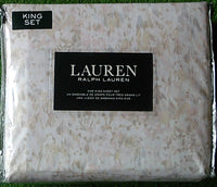 Ralph Lauren King Sheet Set Abstract Floral Watercolor 100% Cotton Multi-Color