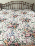 Vintage Ralph Lauren ALLISON King FITTED Sheet. Floral Roses Lilac EUC