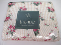 Ralph Lauren Marseilles Stripe Beige Rose Floral Ruffled Flat Sheet- Queen