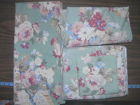 "RALPH LAUREN VINTAGE ""MELANIE GREEN"" FLORAL SHEET SET-FULL SIZE-100% COTTON-4 PC"