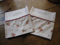 BEAUTIFUL FLORAL EYELET LACE MARTHA STEWART STANDARD PILLOWCASES