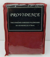 Providence Pillowcases Embossed Floral Burgundy Standard Size
