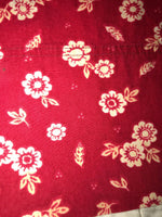 Woolrich Pair All Cotton Queen Rust Red White Floral Pillow Cases Flowers Daisy