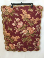 2 pillowcases shams Linen Source quilted floral gold maroon 29 x 23